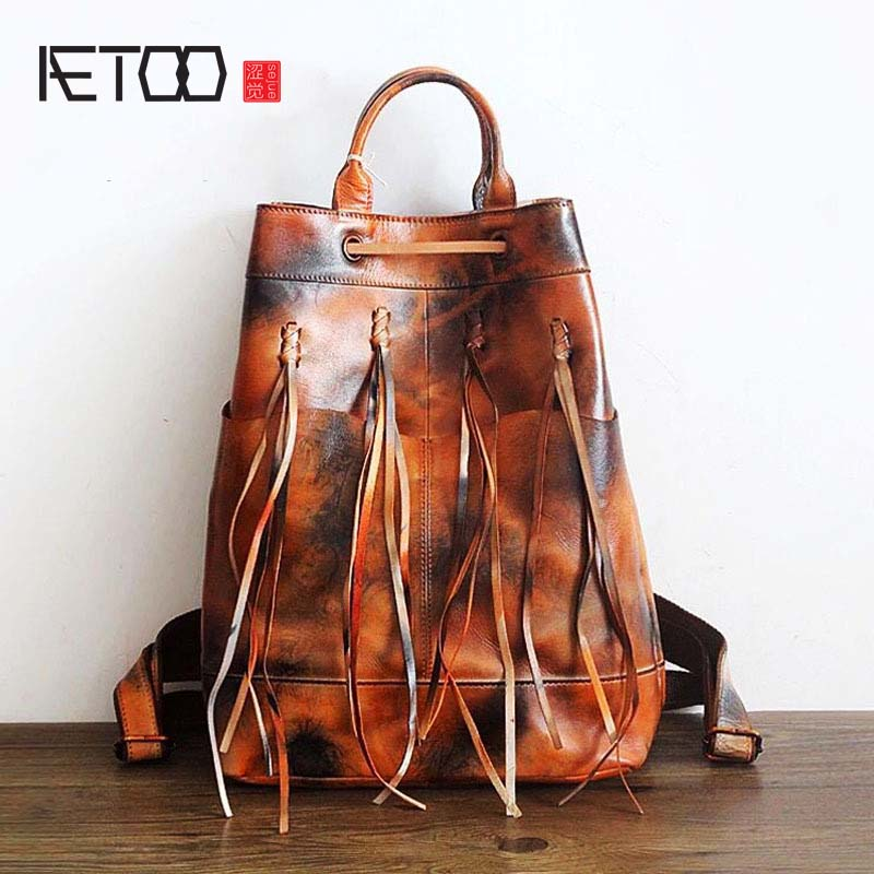 AETOO 2018 new hand-brushed female bag top layer leather backpack backpack retro genuine leather bag cowhide bag