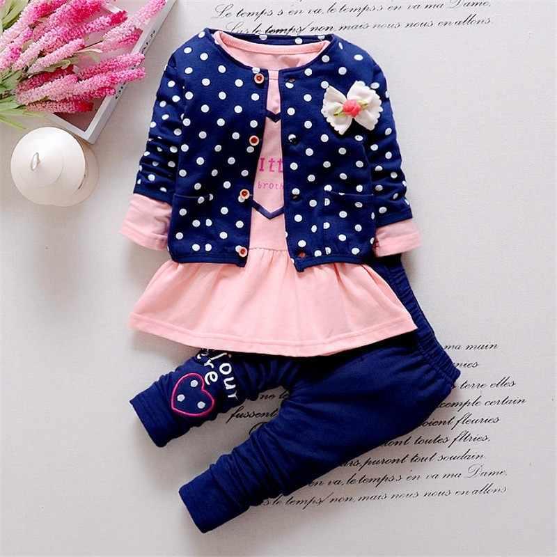 BibiCola 2019 primavera outono Meninas Do Bebê Set Roupas casuais longo-sleeved T-shirt + Denim macacões Calças de brim roupa dos miúdos meninas
