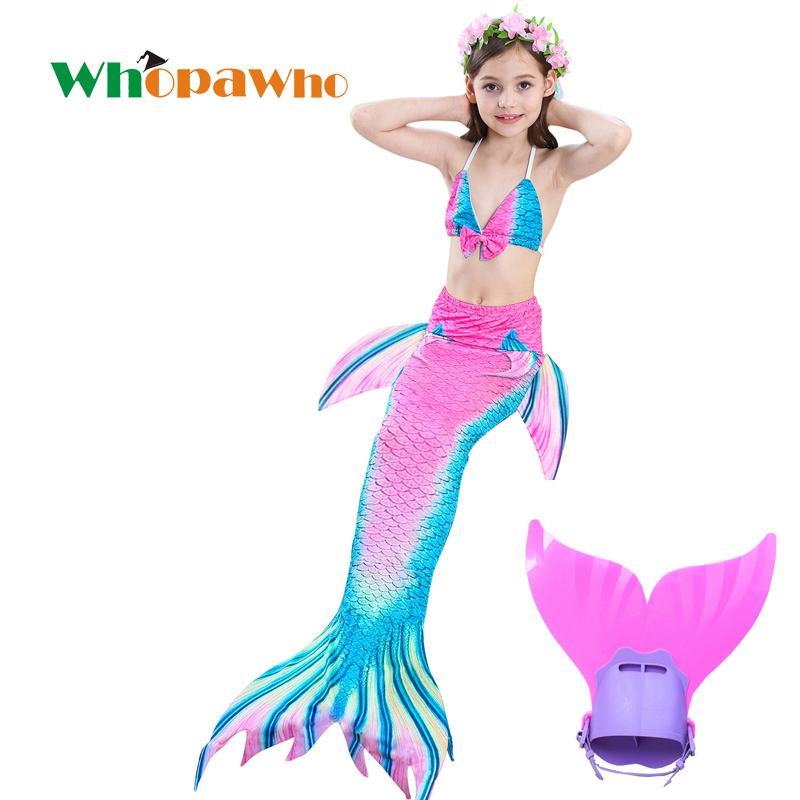 New Arrival! Ariel mermaid tails with mono  fin flipper Kids swimsuits Children Tails Halloween Cosplay costume beach wear
