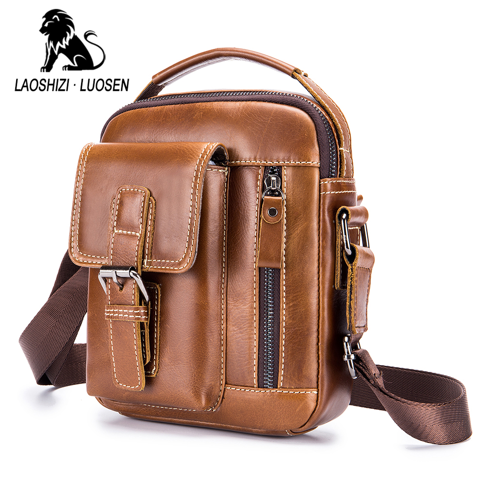 Vintage Genuine Leather Man Shoulder Bags Cow Leather Mini Messenger Bag For Male Belt Buckle Men's Tote Bag Casual Handbag