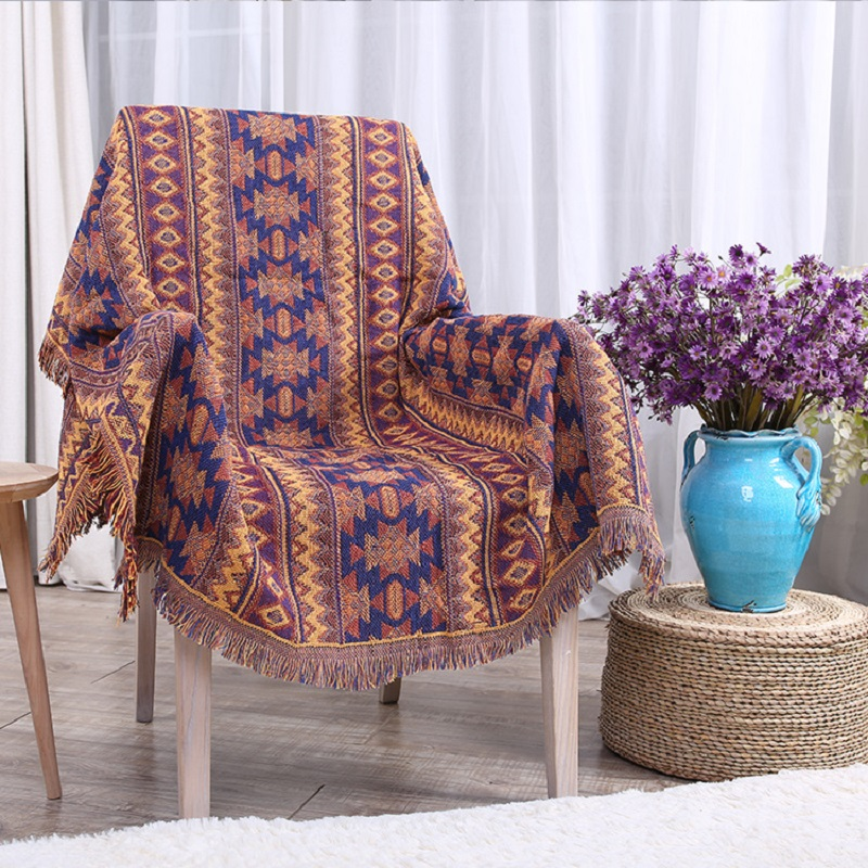 Thicker Geometry Sofa Towel Knitted Slip Resistant Sofa Cover With Tassel  Cotton Anti Mite Sofa Blanket Cover For Couch Canape