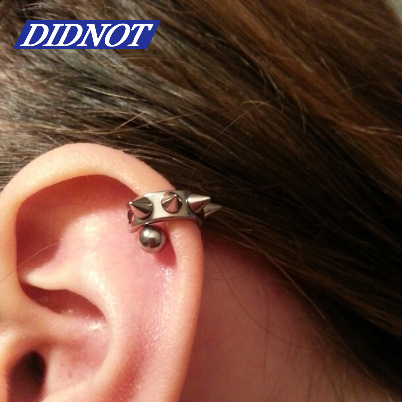 Free Shipping 1PCS Fashion Black Silver Piercing Lobe Earring Ear ...