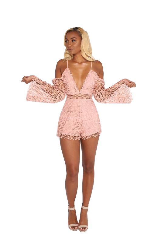Summer Off Shoulder Lace Jumpsuit Romper Spaghetti Strap See Through Playsuit Backless Mesh Long Sleeve Women Short Jumpsuits