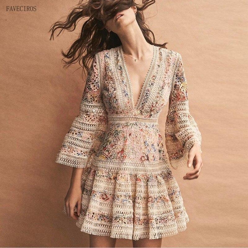 High Quality Luxury Brand New Fashion 2018 Designer Runway Dress Flare Sleeve V neck Hollow Out Embroidery Dress Elegant Vestido