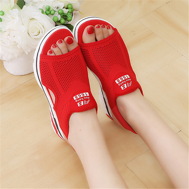 breathable comfort shopping ladies walking shoes red black women sandals for sum