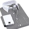 VFan French Cuff Button Men Dress Shirts 2016 New Winter Formal Brand Non Iron Luxury Long Sleeve Business Fashion Shirts