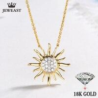 18k Gold Diamond Sun Necklace Pendant Shiny women girl lady miss Gift Girlfriend natural real party trendy good Customization