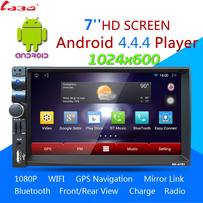 Android 4 4 4 2DIN Car Media Player Bluetooth A2DP Touch Screen Wifi GPS Navi Stereo