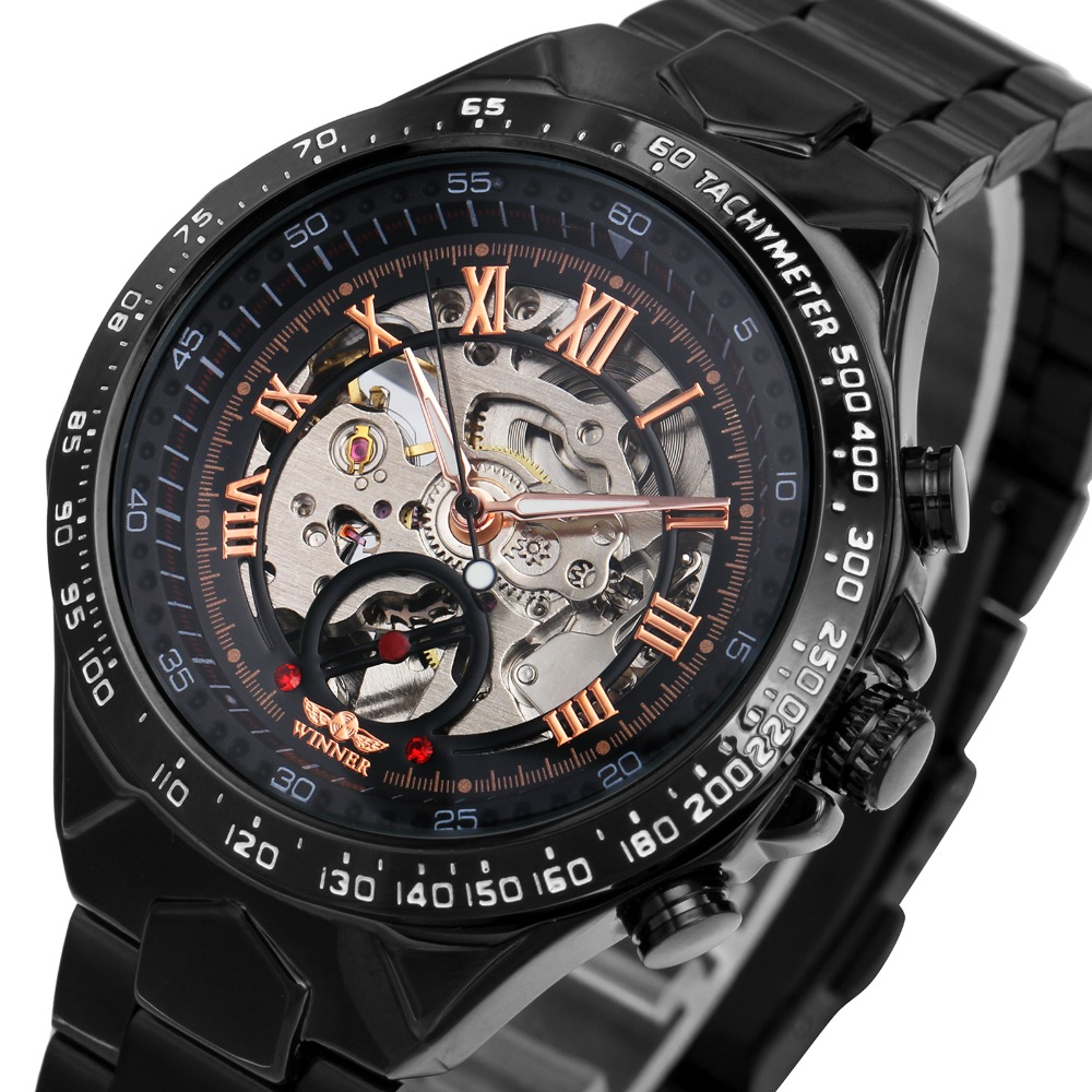 2018 Black Rose Gold WINNER Men Watch Cool Mechanical Automatic Wristwatch Stainless Steel Band Male Clock Skeleton Roman Dial купить недорого в Москве