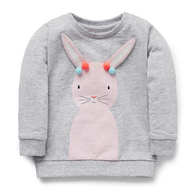 2-7t years Girls T-shirt Kids Tees Baby girl brand t shirts Children tees Long Sleeve 100% Cotton rabbit Sweater Clothing