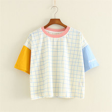 RS005-2017 summer new Japanese Sen female art lattice loose casual cotton short sleeve T-shirt female half-sleeved shirt shirt