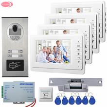 """Video Intercom With 4 Monitors +Video Camera 4 Buttons Rfid Access 7"""" Home Video Door Phone + Electric Strike Lock System Unit"""