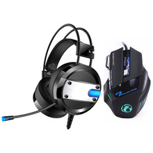 2018 Super LED Backlight Gaming Headphones Deep Bass Computer Game Headset+7 Buttons 5500DPI Pro Mouse for Gamer