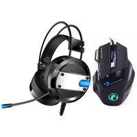 2018 super led backlight gaming fones de ouvido graves profundos computador jogo fone de ouvido + 7 botões 5500 dpi pro gaming mouse para gamer