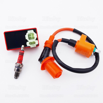 Racing Ignition Coil + 6 Pin AC CDI Ignition Box + 3 Electrode Spark Plug A7TC for GY6 50cc 125cc 150cc Moped Scooter Motorcycle