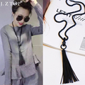 2016 Simple black Tassel Necklace Dual Hanging Bag Long Sweater Chain Necklace Female Clothes Decorated Accessories bijoux femme