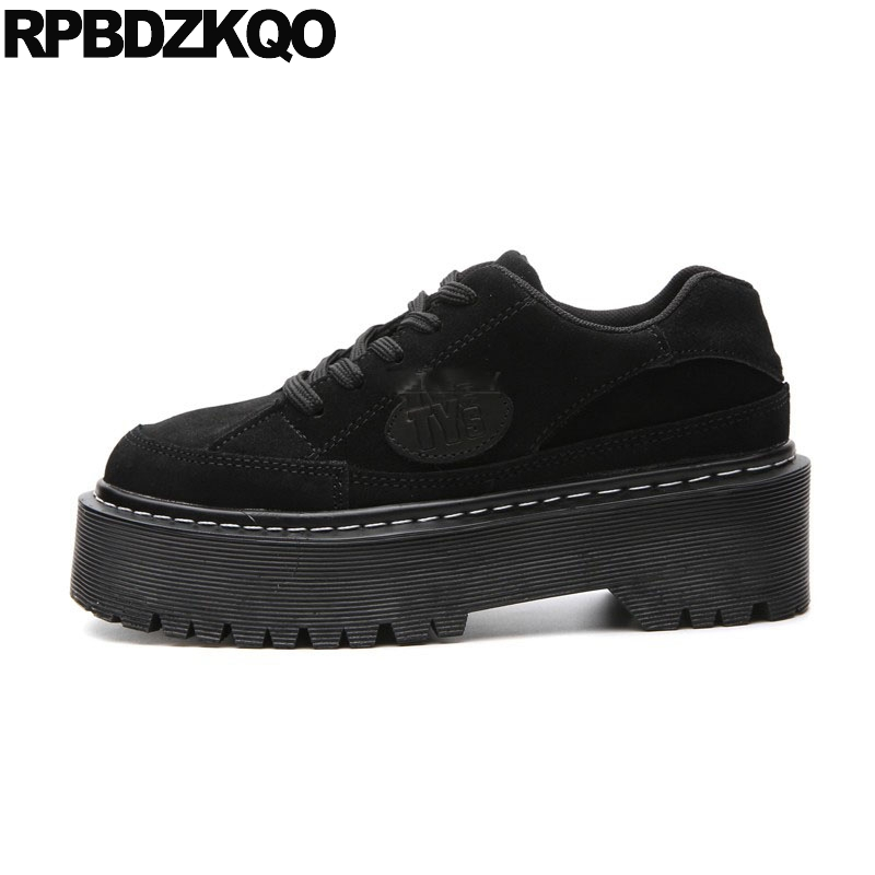 Chaussures Sneakers Véritable Plate forme Épaisse Creepers Chinois Noir Muffin Cuir De Femmes Luxe Wedge Formateurs Semelle En Chine Ascenseur 8zTaCnqU