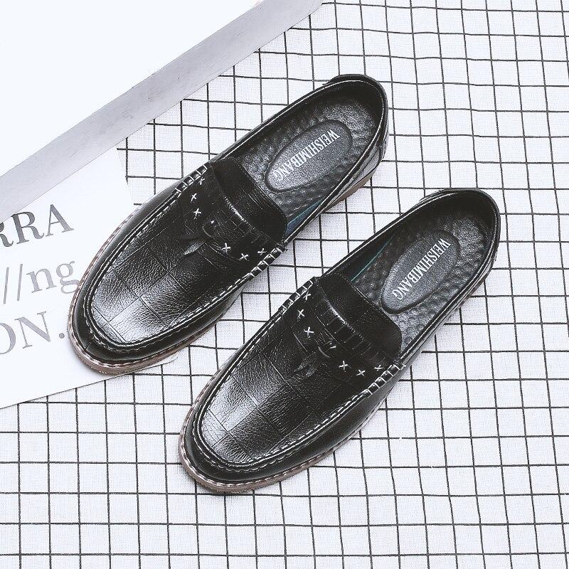 Hombre Slip Style D'affaires Chaussures Appartements Mode Métal on Noir De 01 Zapatos Mâle Décontracté Cuir Mocassins En Britannique Hommes GzVpMqUS