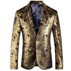 Золотой Блейзер Slim Fit Masculino Abiti Uomo 2018 Свадебные Пром блейзеры с одиночной пуговицей для мужчин стильный пиджак 5XL EM038