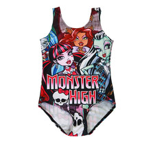 Summer Shirt Girls monster High Suit Baby Girls Summer seashore costume High Monster jumpsuits Mini Beach Sandal PhysiqueSuit Costume