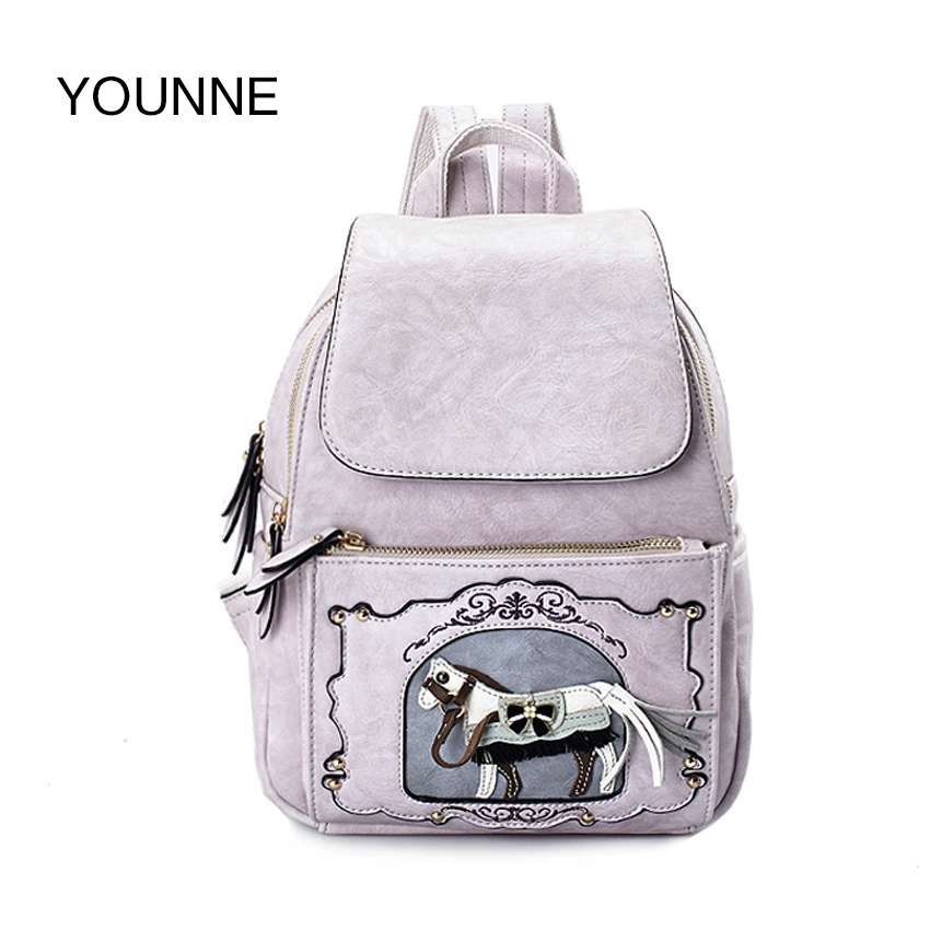 YOUNNE Horse Printing Backpack For Women Hight Quality Shoulder Bag Female Casual School Backpacks Teenage Backpacks For Girls