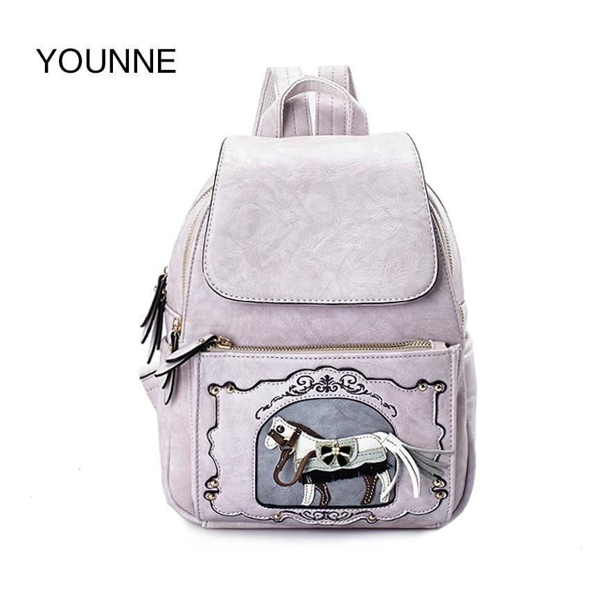 Younne лошадь печати рюкзак для Для женщин Высокое качество сумка женская Повседневное школы Рюкзаки подростков Рюкзаки для Обувь для девочек