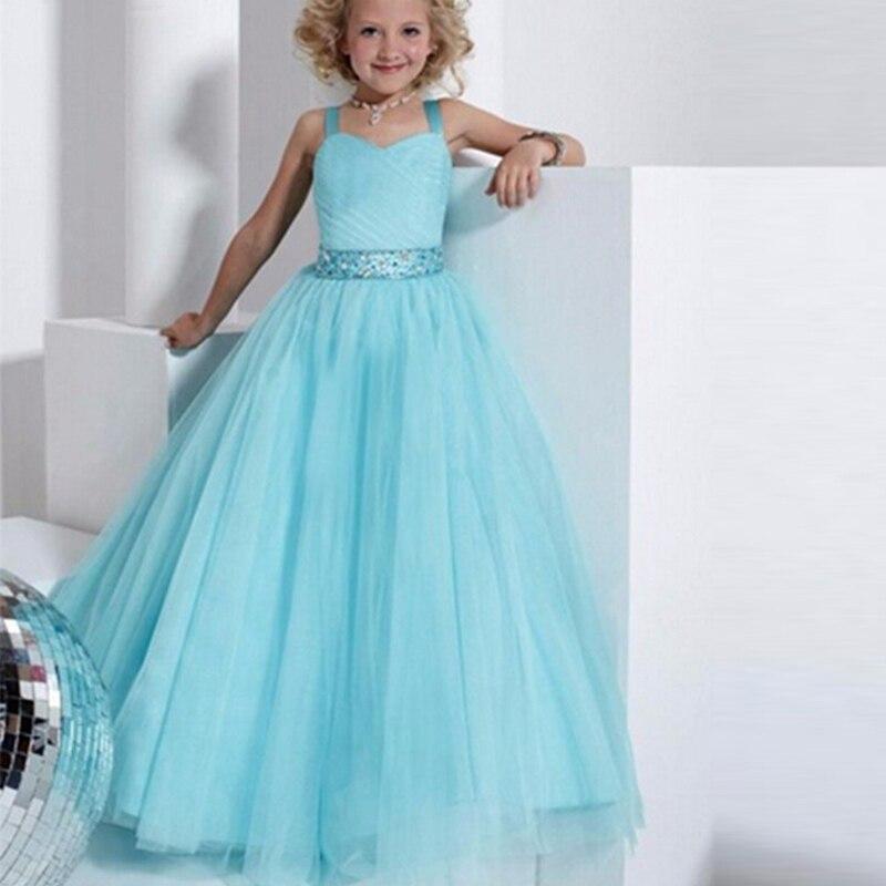 Голубое платье в пол для девочки