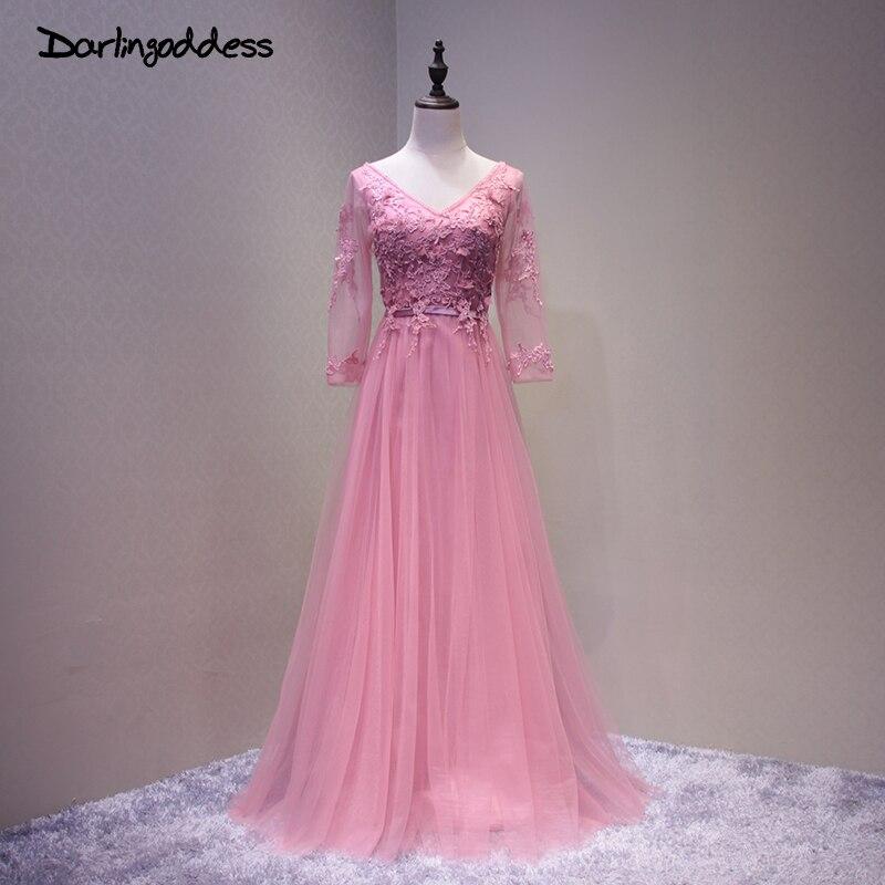 Élégant chaud rose longue Robe De soirée Simple Double col en V dentelle 3/4 manches dentelle bal De promo robes formelles Robe De soirée 2017