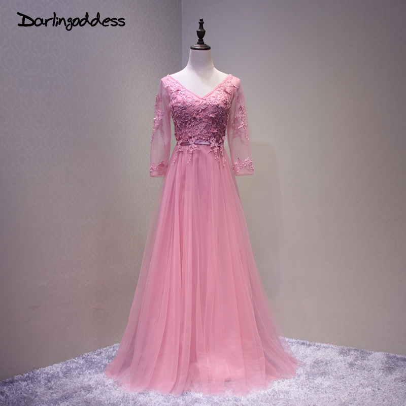 Simple Elegant Long Sleeve V Neck A Line Lace Top Satin: Elegant Hot Pink Long Evening Dress Simple Double V Neck