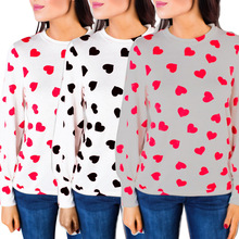 Valentine Top Plus Size Women Shirt Graphic Tees Pink Love Printing Womens Clothing Long Sleeve Tshirt plus size graphic crescent hem top
