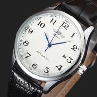 Luxury Men Mechanical Watch Classic Date Automatic Mechanical Watch Self Winding Analog Skeleton Black Leather Strap