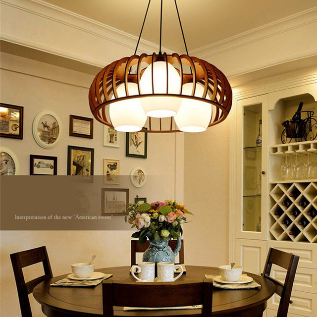 American Pendant Lights Wooden Art Lamp For Dining Room Kitchen Country Style Home Decor Lighting