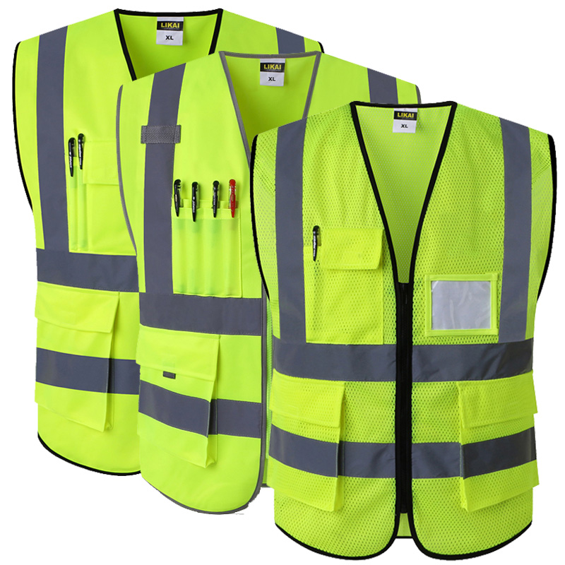 Reflective Safety Vest With Pockets Working Clothes Hi vis jacket(China)