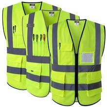 Светоотражающий жилет безопасности с карманами рабочая одежда Hi vis куртка