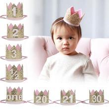 1pc cute new Hairband Children Birthday Gift Felt Glitter Crown Headbands Princess Hair Accessories Band birthday hat h3