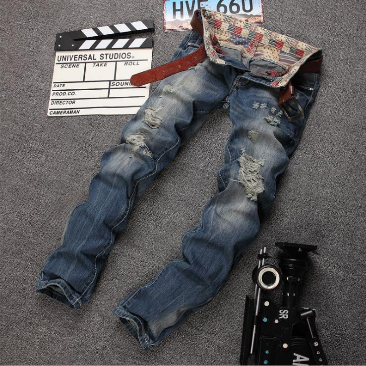 #2711 2016 Mens destroyed jeans Straight Patches Mens biker jeans Denim pants Hip hop jeans Ripped jeans for men Destroyed brand