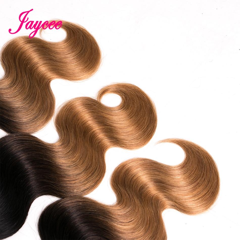 Ombre Brazilian Hair Bundles With Closure Lace 4*4 Non-remy Ombre Blonde Hair Bundles 1b/27 Body Wave Bundles With Closure