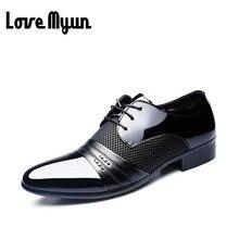Más barato Oficina de Trabajo zapatos zapatos de charol para hombre de negocios zapatos de boda de encaje hasta Señaló dedo del pie planos de gran tamaño 37-47 AB-01