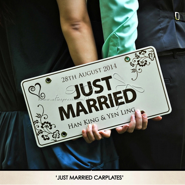 Free shipping personalized car plate wedding car decoration wedding free shipping personalized car plate wedding car decoration wedding supplies wedding backdrops event party supplies junglespirit Images