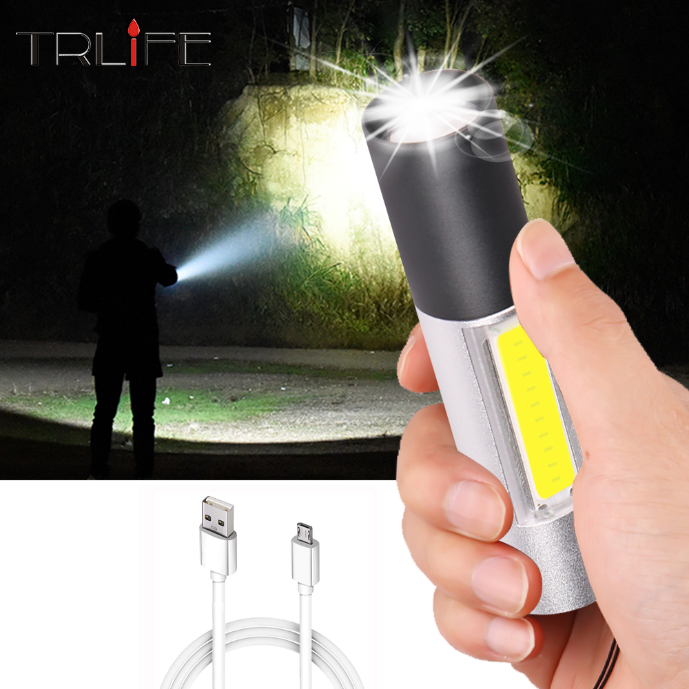 1200mAh USB Rechargeable MINI LED Flashlight With COB Side Light ZOOM 3lighting Modes LED Torch For Cycling, Camping, Work Light