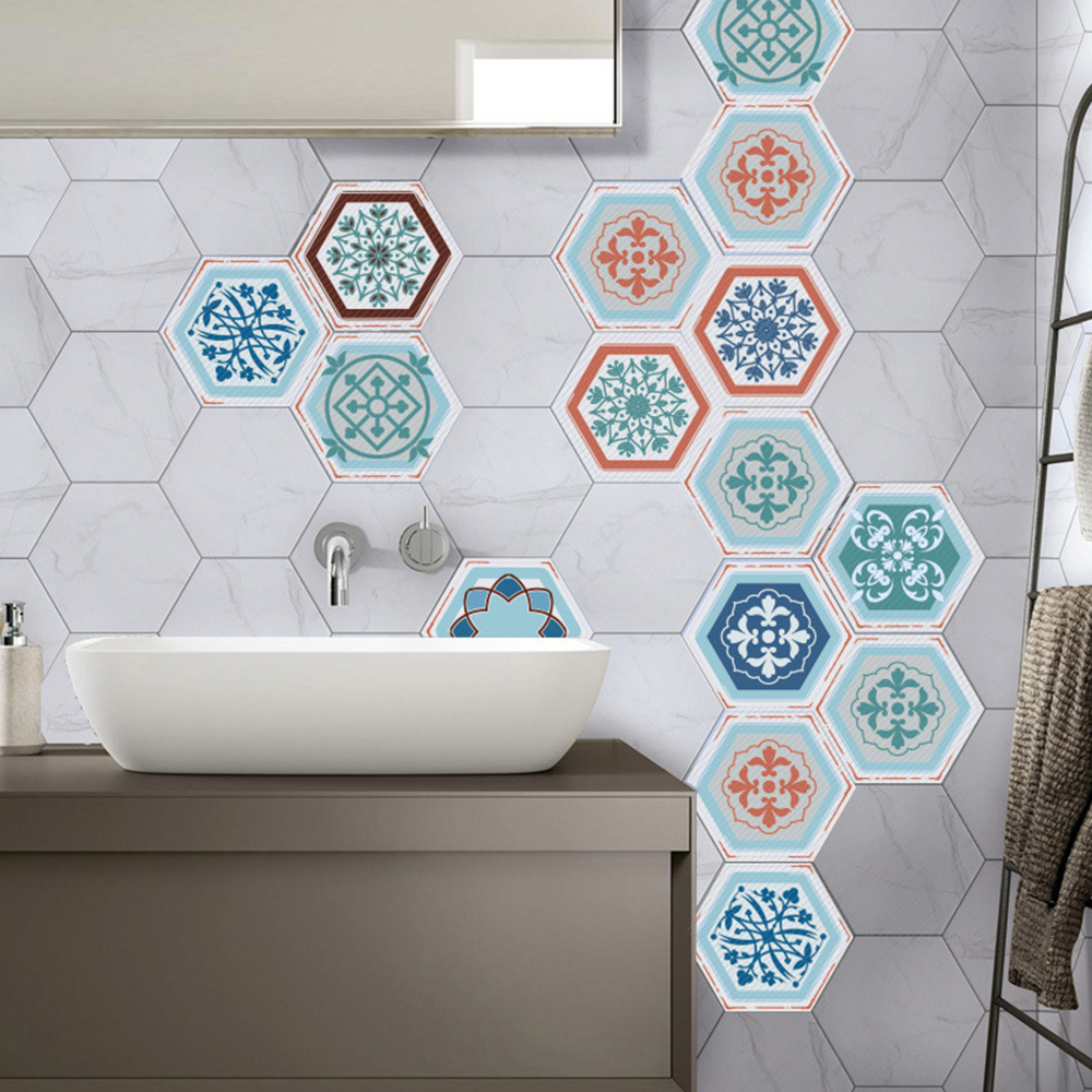 10 Pcs Floor Stickers Red And Blue Simple Hexagon European Style ...