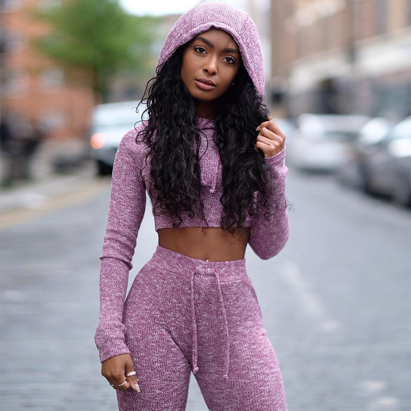 Women Sports Suits two piece Yoga Tracksuit Knitted Sportswear Hooded Running Wear Female Sexy Gym Fitness Clothes Jogging Suits