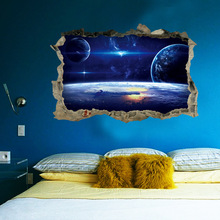цены 3D Broken Wall Sticker PVC Removable Planets Space Galaxy Home Decoration for Kids Room Baby Bedroom Ceiling Floor Decoration