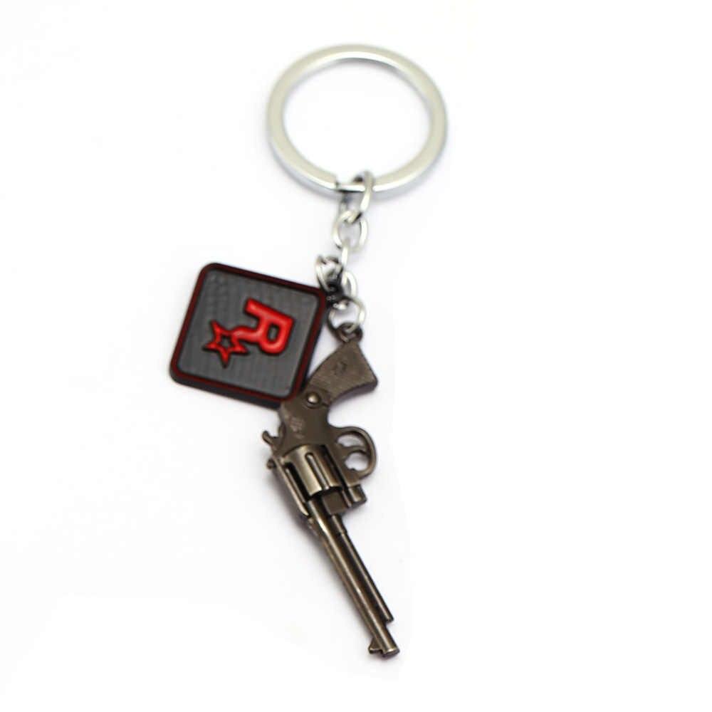 Permainan Gantungan Kunci Tag Gun Gantungan Kunci Pola Red Dead Redemption 2 R Star Liontin Aksesori 7 Cm Kecil Gun Model