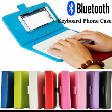 Phone Case With Bluetooth Wireless Mini Keyboard For Universal Iphone 6 Android Tablet Mobile Phone Cover Keyboard Leather Case