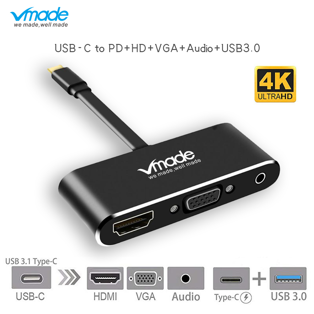 Usb Type C Adapter Voor Hdmi C 4 K Vga Audio Converter Kabel Usb3.0 Pd C Usb Hub Voor Macbook Pro Voor Huawei P20 Hdtv Projector