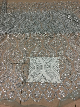nice looking glued glitter african Tulle lace for nice dress modern design french net lace fabric H-72320