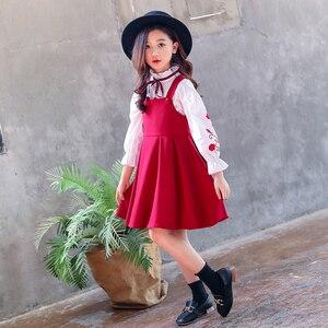 Image 5 - בנות בגדי סט רקמת חולצה + שמלת 2 Pcs חליפת סתיו עבור בנות מקרית ילדים של סט חורף Teen בנות בגדי 4 6 8 12
