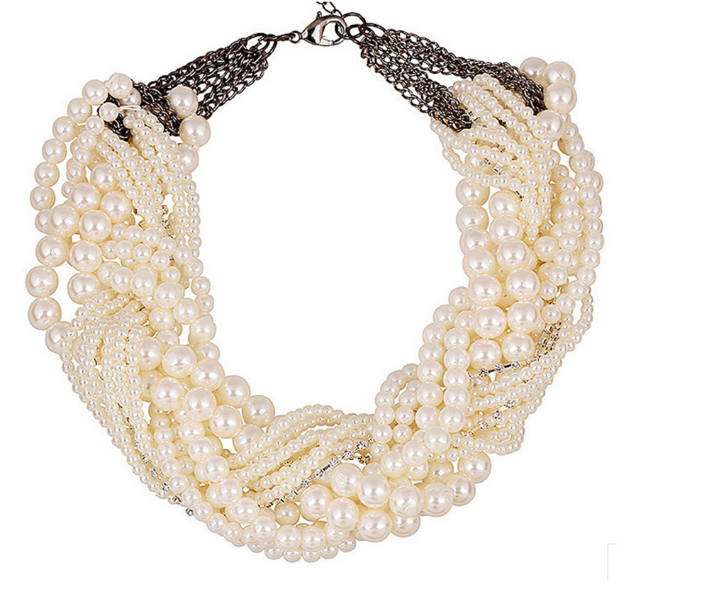 Fashion Western style round pearl Necklace Pendants Multiple layers Weave vintage Women Necklace Jewelry for patry JQ728