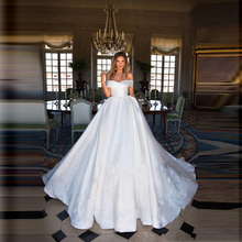 Lisong Charming Off Shoulder White Satin Wedding Dress Gown